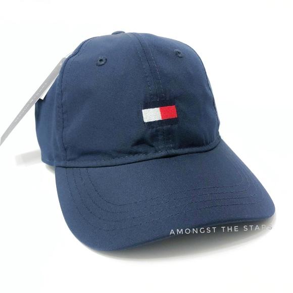 e46fe46d Tommy Hilfiger Accessories | Navy Blue Box Logo Strapback Hat | Poshmark